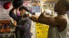 Sylvester Stalloneas Rocky Balboa and Michael B. Jordanas Adonis Johnson in a scene fromCreed</e